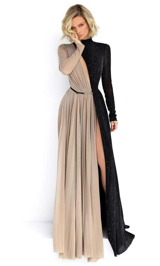 A-Line Prom Dresses with Modest Necklines and Long Sleeves