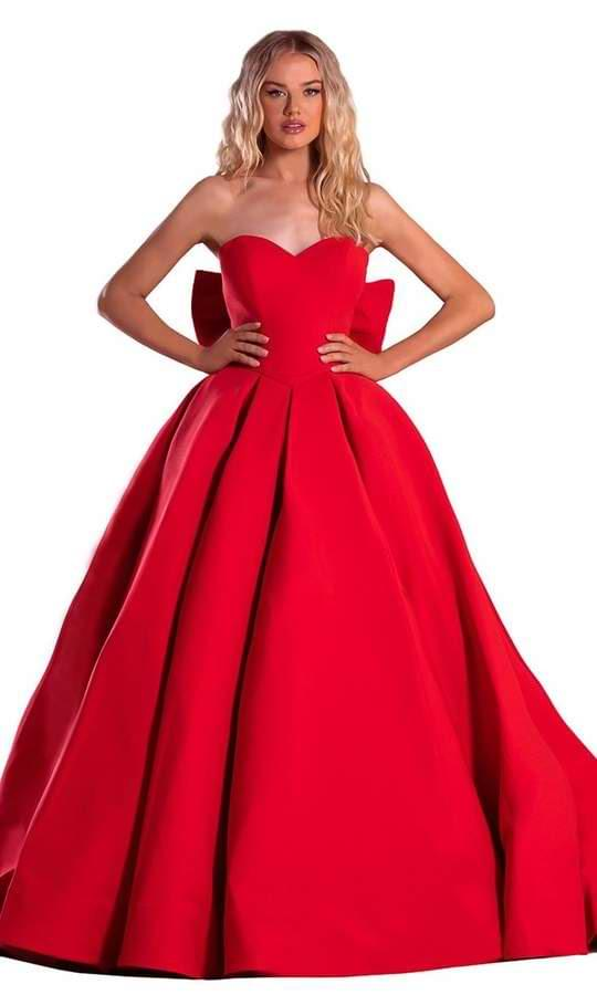 Red Prom Ball Gowns with Sweep Train Finish