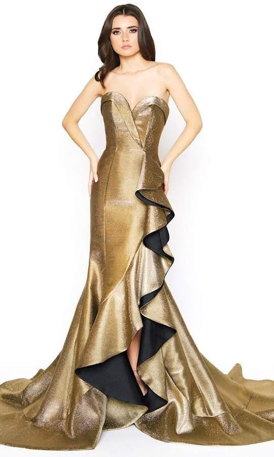 metal tone shimmering golden gown