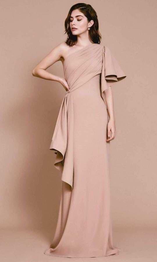 TADASHI SHOJI - ONE SHOULDER SHEATH EVENING DRESS BOS20395L