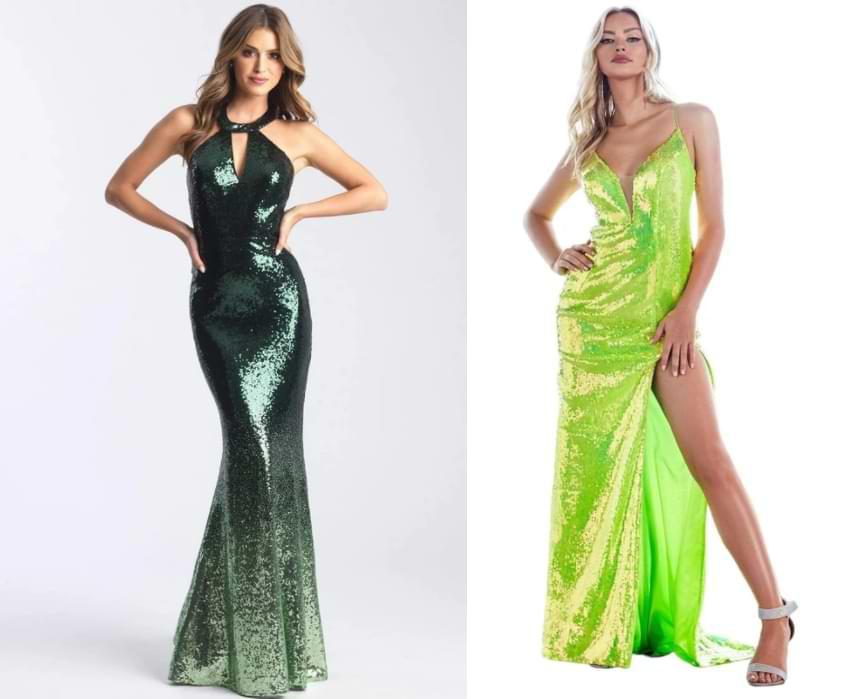 dark sequin forest green prom dresses