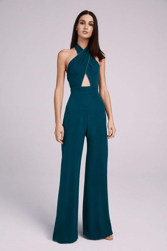 solid green jumpsuits and two-piece dresses